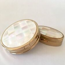 Vintage 1952 Max Factor Compact Lipstick Case Set Mother of Pearl Puff Powder
