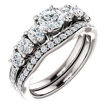 1.42 carat Engagement ROUND DIAMOND RING & BAND BRIDAL SET center diam 0.50 ct