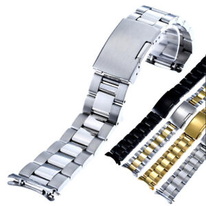 16-26mm Curved End Stainless Steel Watch Band Bracelet Strap Push Button Clasp