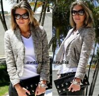 ZARA WOMAN SILVER BOUCLE JACKET BLAZER METALLIC BLOGEGRS SIZE LARGE L NEW