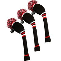 Stripe Golf Knitted Club Head Covers, Set of 3 - Driver, Fairway Wood, Hybrid