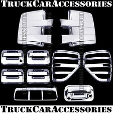 For FORD F150 2009-2014 Chrome Covers Mirrors+4 Doors+Tailgate+Tail Lights+Brake
