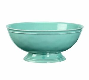 Pottery Barn CAMBRIA Large Footed Serving Bowl TURQUOISE