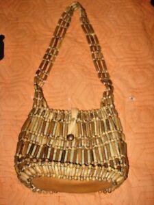 Vtg  Woven Wood Bead Purse Shoulder Hand Bag Boho Hippy Style Made In Korea