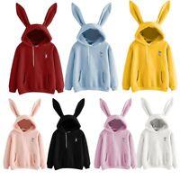 Women Cute Rabbit Ear Hoodie Sweatshirt Casual Long Sleeve Pullover Blouse DA