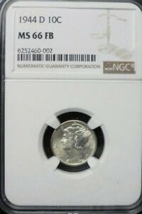 1944-D  MERCURY DIME  NGC MS 66 FB
