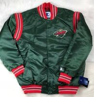 Minnesota Wild STARTER Retro Satin Snap Jacket, Green, Men's L, 6XL NHL NWT