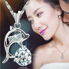 Womens Silver Rhinestone Jumping Dolphins Pendant Necklace Love Souvenir Jewelry