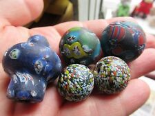 Five Vintage HUGE Murano glass beads, two face beads, Unusual. Large.