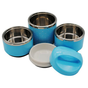 3 Tier Stainless Steel Thermal Insulated Stackable Lunch Box Bento Blue