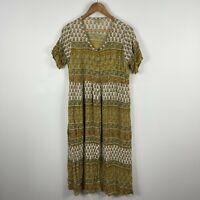 Tree Of Life Dress Small Multicoloured Floral Boho Short Sleeve V-Neck Rayon
