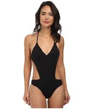 ROXY GIRLS WANNA HAVE FUN V NECK ONE PIECE SWIMSUIT BLACK SIZE SMALL NEW! $78