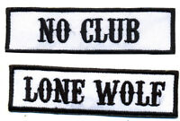 No Club Lone Wolf patch set badge Hot Rod motorcycle biker MC vest Jacket White