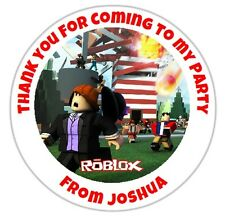 24 Personalised ROBLOX Birthday Party Stickers Thank You Seals - DE1