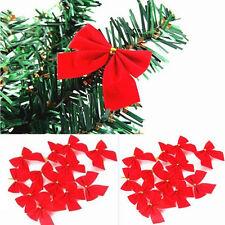 Neuf 12 X Cravate d'Or En Tissu Rouge Arbre De Noël  Satin Arcs Noeud Décoration