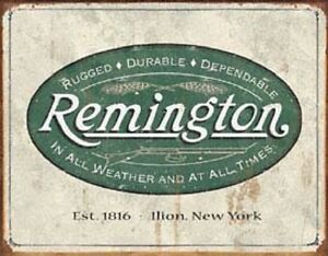 Remington Logo Vintage Hunting Novelty TIN SIGN Metal Cabin Lodge Wall Poster