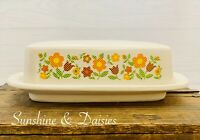 Vintage McCoy Daisy Chain Pottery Butter Dish with Lid PlaidFlowers