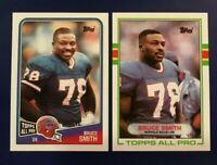 1988 & 1989 Topps # 44 #227 BRUCE SMITH Lot Buffalo Bills HOFER Sharp !
