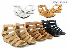 NEW Fashion Summer Open Toe Buckle Strappy Wedge Heel Sandals Shoes Size 5  - 10