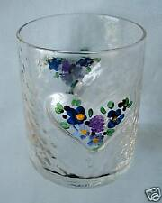 Large Shot Glass/Toothpick Holder HAND PAINTED FLOWERS with RAISED HEART