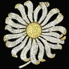 Trifari 'Alfred Philippe' Pave and Ctirine Giant Sunflower or Daisy Pin