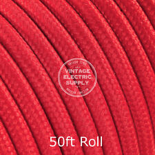 Red Round Cloth Covered Electrical Wire - Braided Rayon Fabric Wire - 50ft