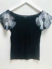Emporio Armani Cotton Knitted Top Jumper Blouse Embroidered T Shirt Poppy Flower