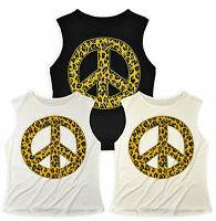 Ladies Animal Print Peace Sign Vest Top New Womens Sleeveless T shirt Size 8-14