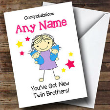 Big Sister Congratulations New Baby Twin Brothers Boys Personalised Sibling Card