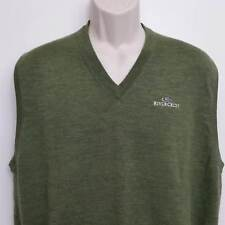 Peter Millar Mens Wool Sweater Vest XL Green Monogrammed Sleeveless