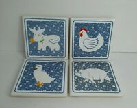 Set of 4 Vintage Farm Animals Coasters Pig Cow Chicken Duck Country Tile Trivet