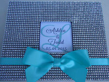 Tiffany Blue Bling Guest Book Set - Rhinestone Wedding Guestbook Sign Bow Pen