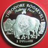1997 COOK ISLANDS $2 SILVER PROOF BISON THEODORE ROOSEVELT NATIONAL PARK RARE!