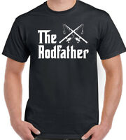 Fishing T-Shirt The Rodfather Mens Funny Angling Reel Rod
