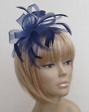 Navy Blue Crin Feather Fascinator Headband Headpiece Weddings Races Ladies Day
