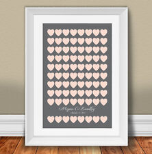 "Custom Wedding Guest Book Alternative Poster Set with 80 hearts 20""x30"""