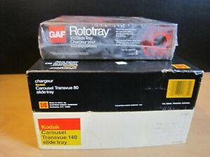 Lot of 3 Vintage Carousel Slide Tray-2 Kodaks/140 & 80 Plus GAF Rototray-100