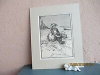 antique engraved illustration of girl on the beach collecting shells 1878
