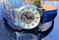 Akribos XXIV Men's 41mm Automatic Skeletonized Dial Blue Leather Strap Watch