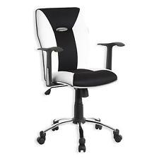 Fauteuil chaise de bureau avec accoudoirs hauteur réglable tissu mesh noir blanc