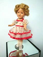 "1936 Shirley Temple, 13"", Composition Doll, Shirley Temple Pin, Stand"