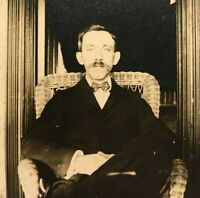 Antique Cabinet Card Photograph Man with Mustache and Bow Tie c. 1900