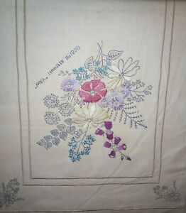 """Vintage linen table runner part embroidered floral 14"""" x 52"""" see all  pictures"""