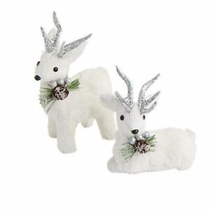 White and Silver Sisal Christmas Deer | 3 Pieces