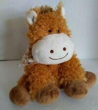 "Hugfun Baby Cow Plush Scarf 11"" Golden Brown Purple Floral Soft Toy Stuffed"