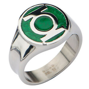 Official DC Comics Green Lantern Logo Ring - Sizes 8, 9, 10, Available