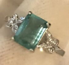 1.76CT  NATURAL EMERALD AND REAL DIAMONDS RING IN 14K WHITE GOLD