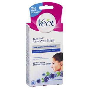 Veet Easy-Gel Face Wax Strips Sensitive Skin 20 Pack Long Lasting Smoothness