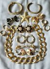 Vintage Gold Plated Jewelry LOT SIGNED Trifari Avon Gerry's JJ Brooch Earrings