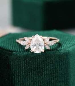2.50 Ct White Pear Cut Diamond Wedding Engagement Ring 14K Rose Gold Finish